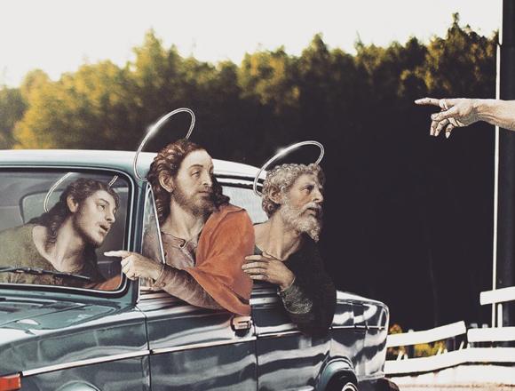 Українська художниця малює колажі з Ісусом у сучасному світі (фото)